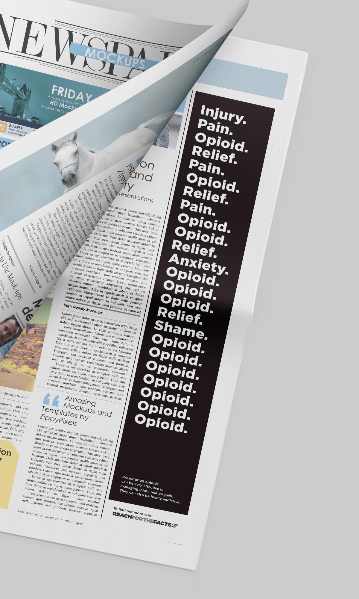 Opioids Newspaper PSD Mockup